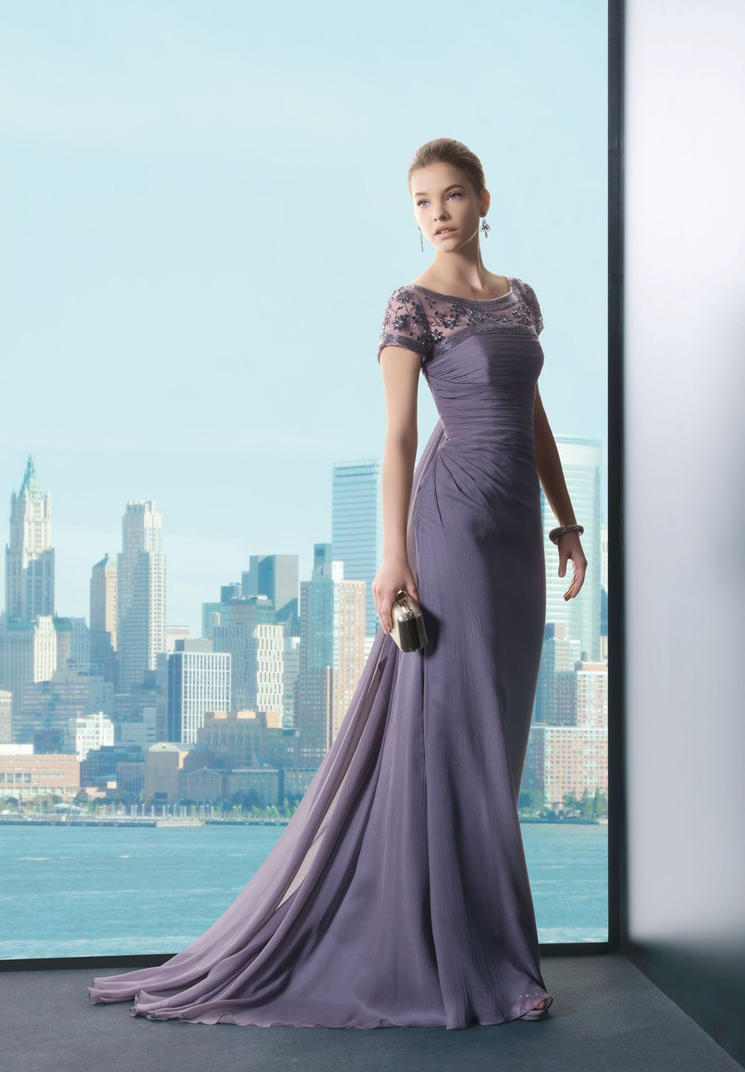 Chiffon Scoop A-line Long Evening Dress by whiteazalea on DeviantArt
