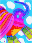 Flying Rainbow Elephant