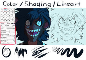 Lineart/Color/Shading Brush Setting by Satoga