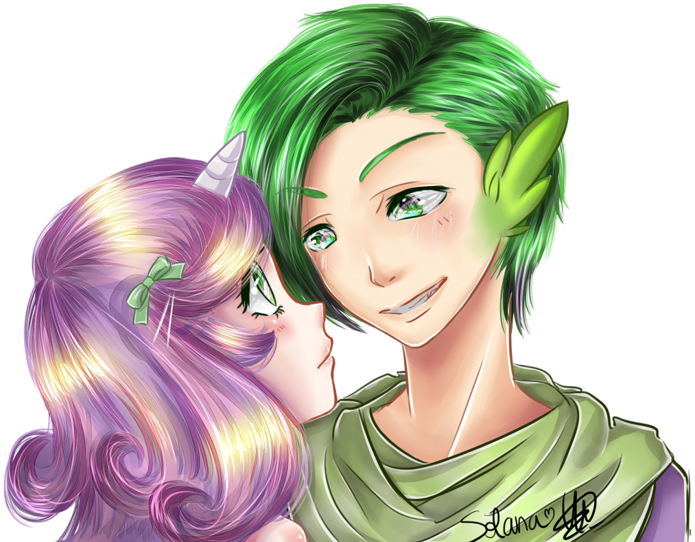 Sweetie Belle x Spike Gijinka by Solanapple