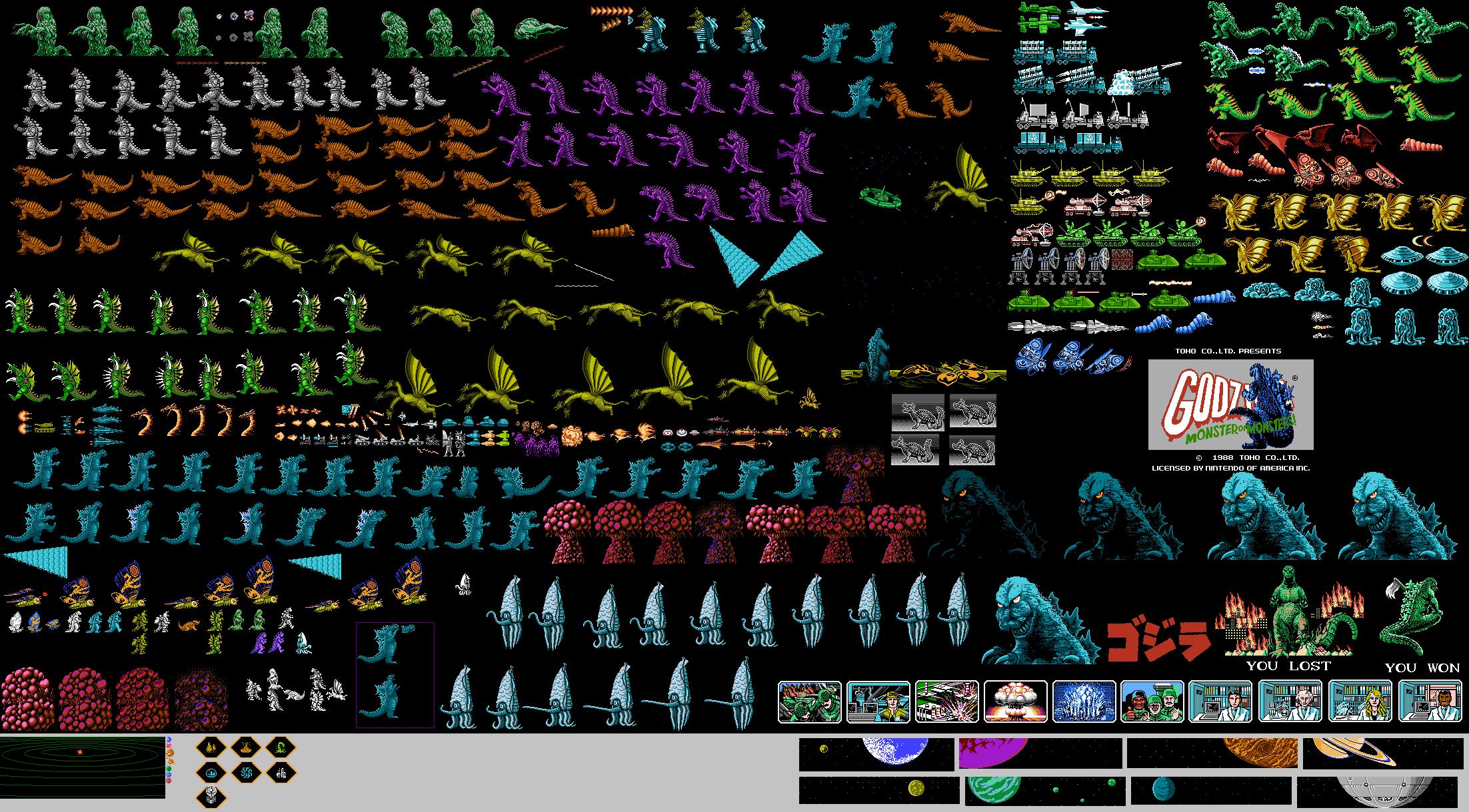 nintendo godzilla sprites by spacehunterm on deviantart