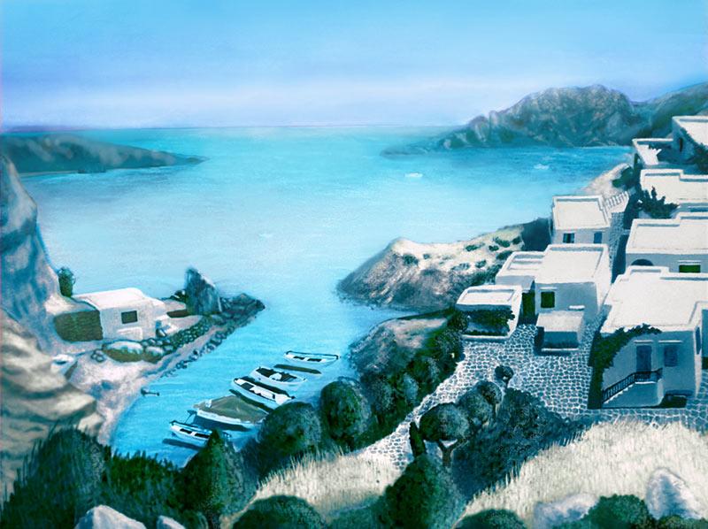 cyan landscape by ftourini