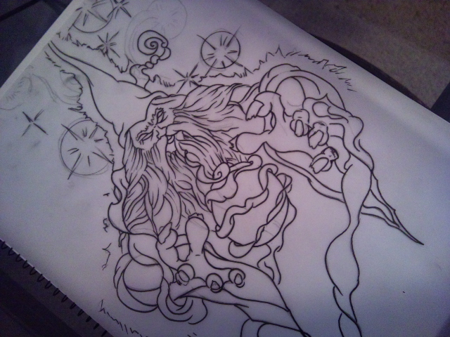 Wizard tattoo outline by needlesncolor on deviantart for Wizard tattoo designs