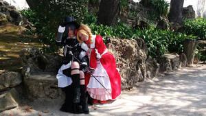 Liz resting in Ciel's shoulder by BloodyAlysskokoro