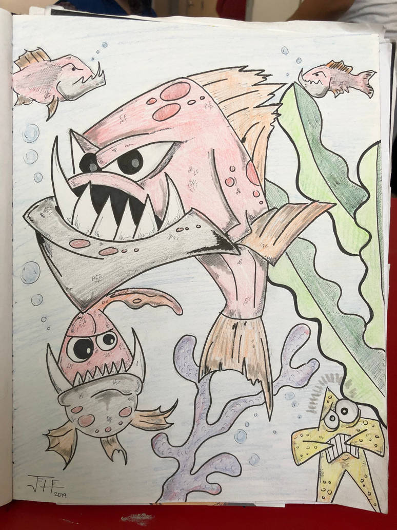 Piranha color pencil art  by RIXJoshua
