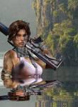 Lara Croft In Water