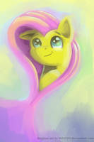 Pretty Fluttershy Painting by RedInk853