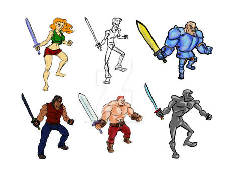 Sword Pose Characters Group