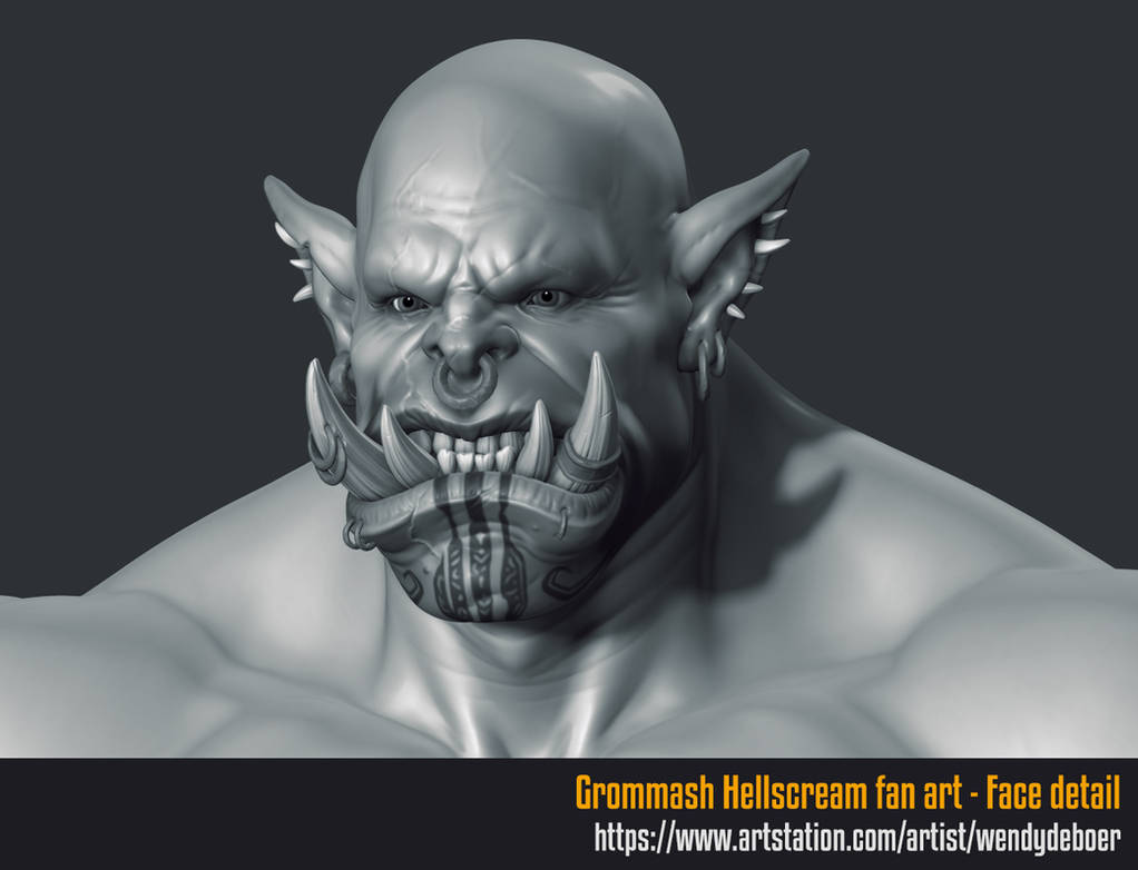 Grommash Hellscream face WIP