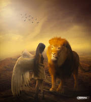 Lion with angel