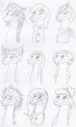Head Sketches Lady Nessies by Tektalox