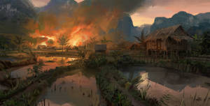 VIETMINH: Village on fire