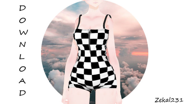 [MMDXSims4] XCKR-Checkered Playsuit Romper +DL