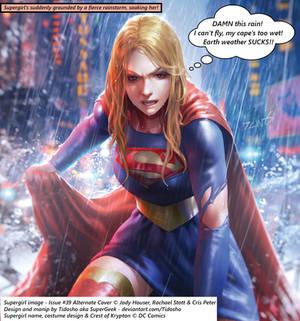 Supergirl caught in Earth rainstorm!