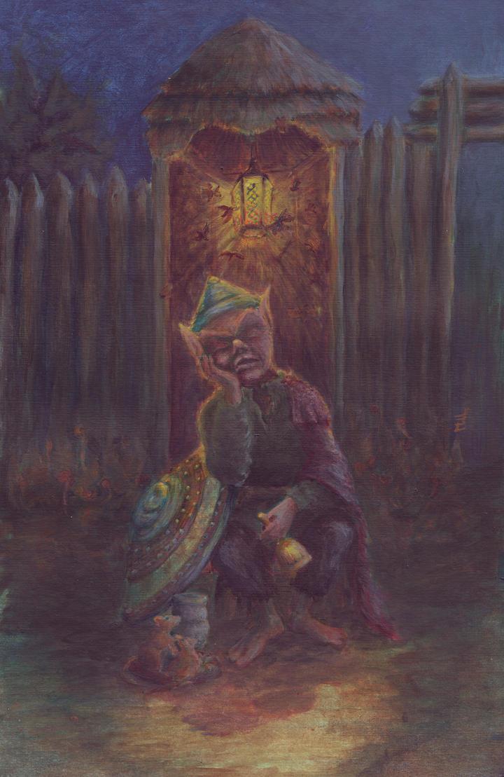 The Sleeping Goblin Guard by mdlillustration