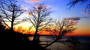april sunset over lake erie