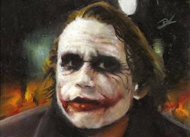 Joker sketch card in oil by Ethrendil