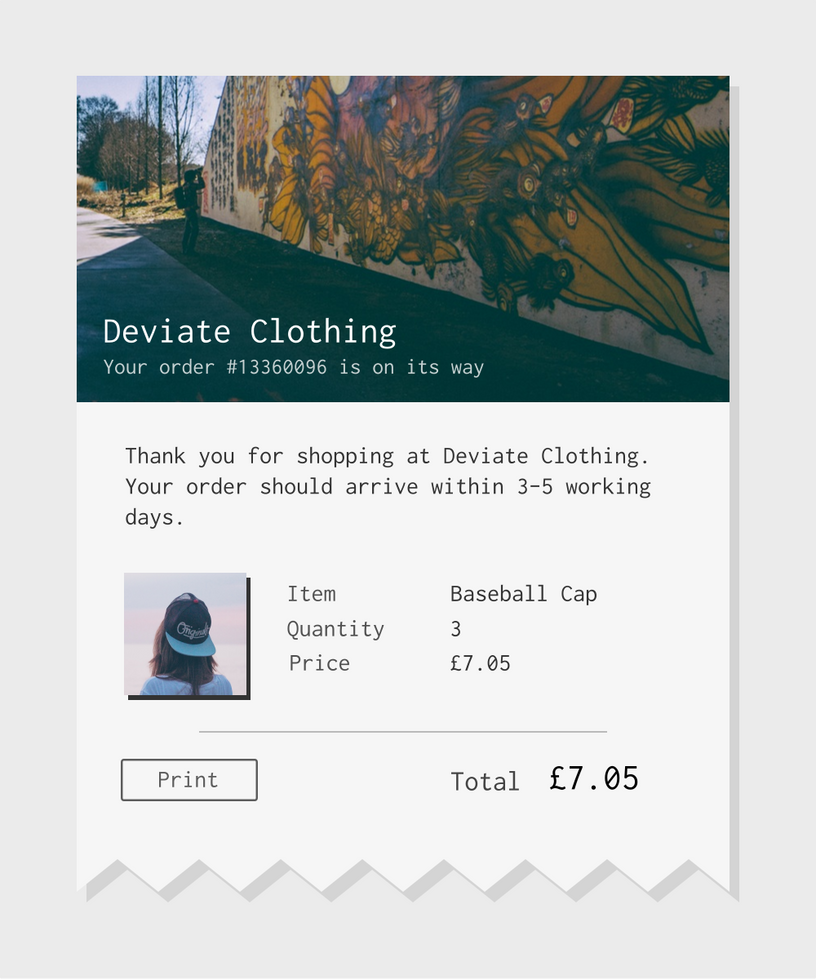 Daily UI Challenge 17: Email Receipt by TheVirtualDragon