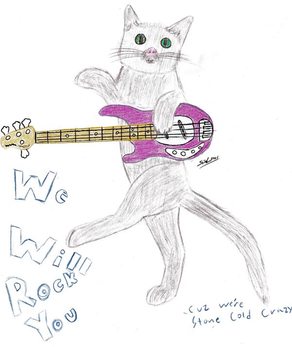 Kitty Playing Bass Guitar By SSLipori