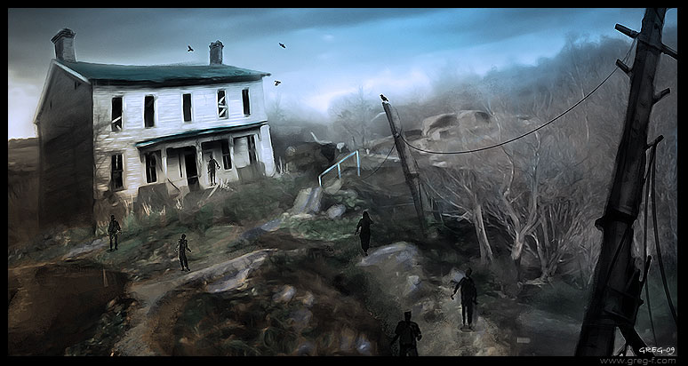 Zombieland by gregmks 45 Awesome Apocalyptic Zombie Artworks