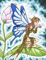 Fairy on a leaf petal