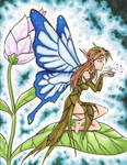 Fairy on a leaf petal by RisingDragonArt