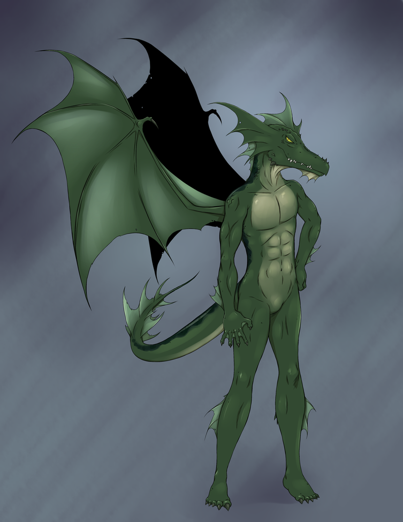 Green Anthro Dragon by RisingDragonArt