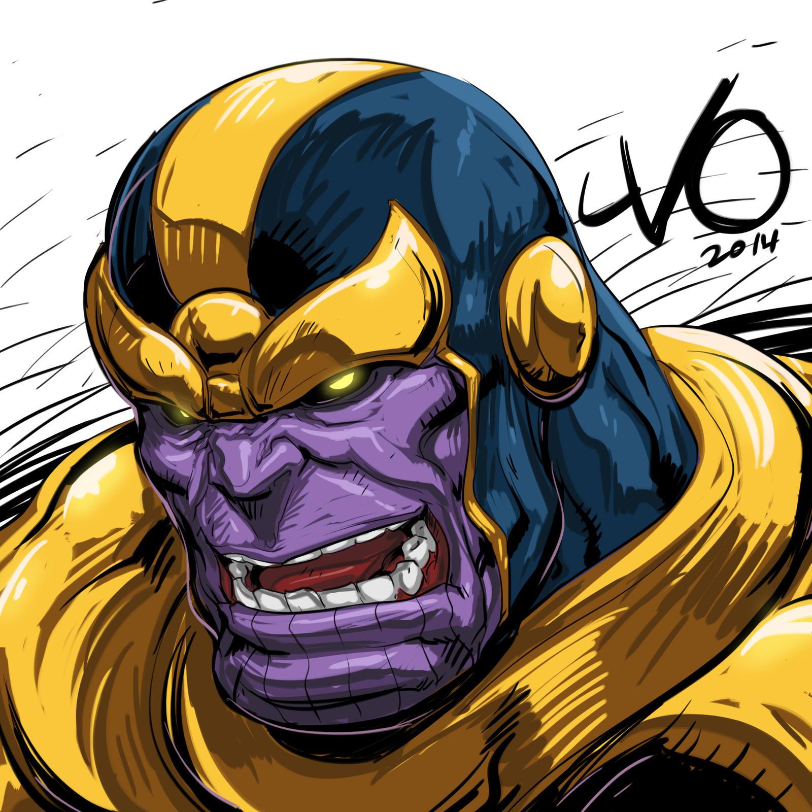Anime Characters Vs Thanos : Digital sketch warm up thanos by vostalgic on deviantart