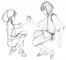 Sketch: Chihiro and Kohaku by Ede1986