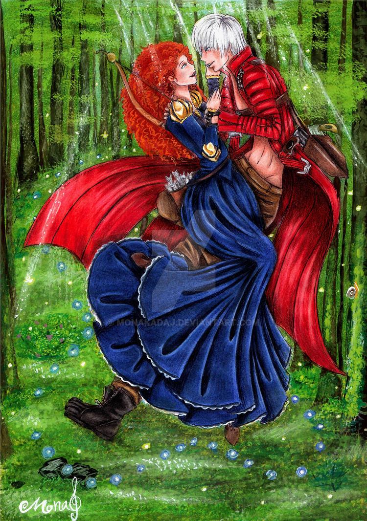Anime boys, Disney girls(Dante and Merida) by monakadaj