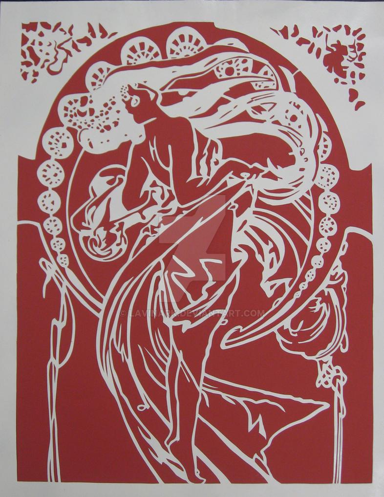 Mucha - Dance Paper Cut by Lavinark
