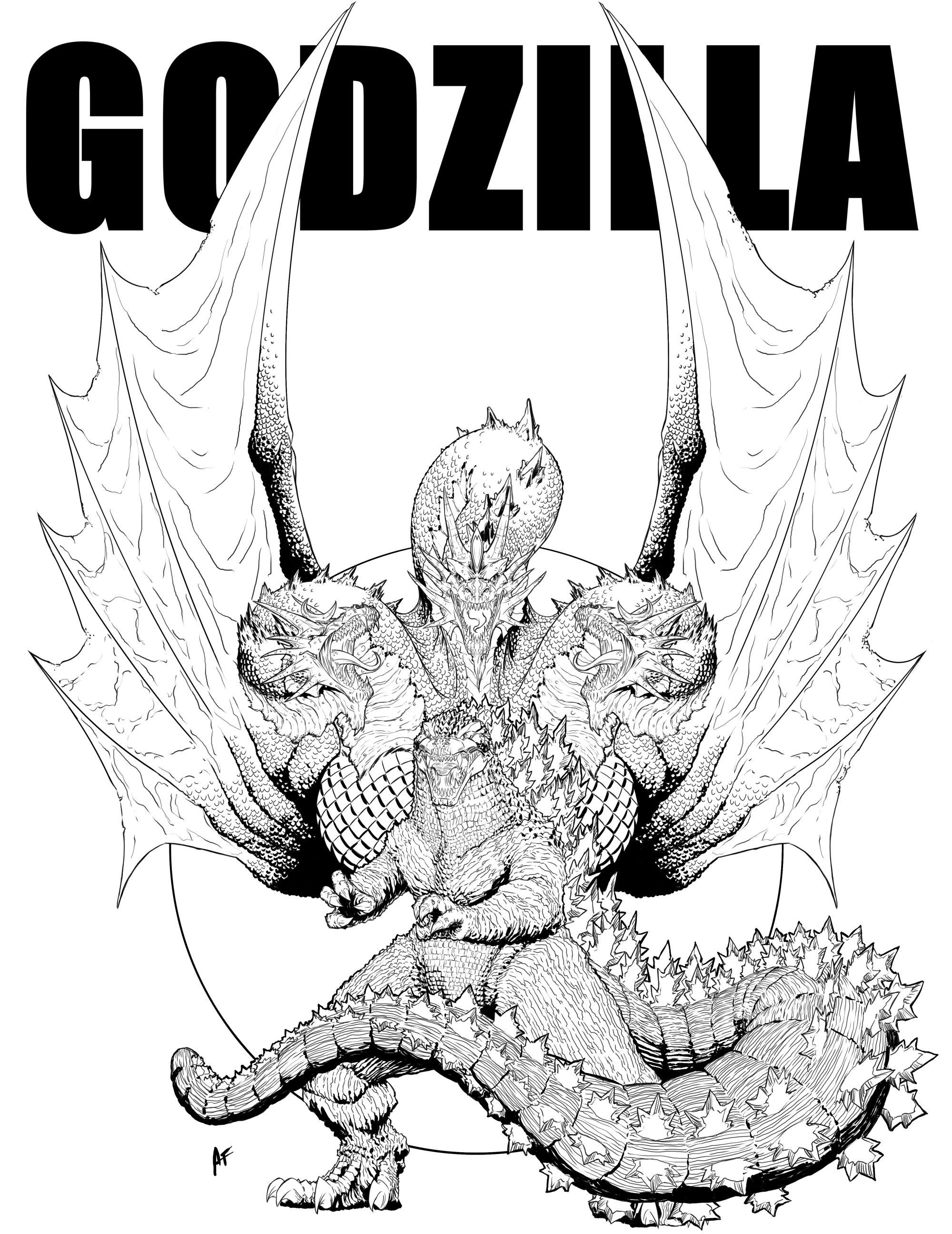 Godzilla King Ghidorah Drawing
