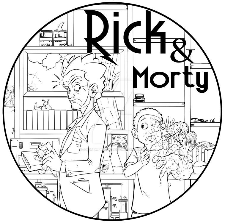 rick and morty coloring pages - rick and morty by andrewfroedge on deviantart
