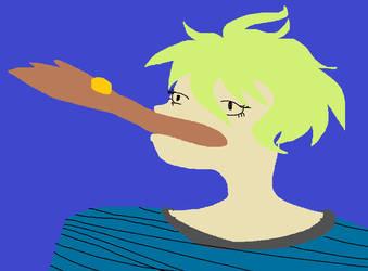 Rantaro eats a small piece by Ferinhe
