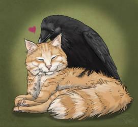 Bird Loves Cat by SageKorppi