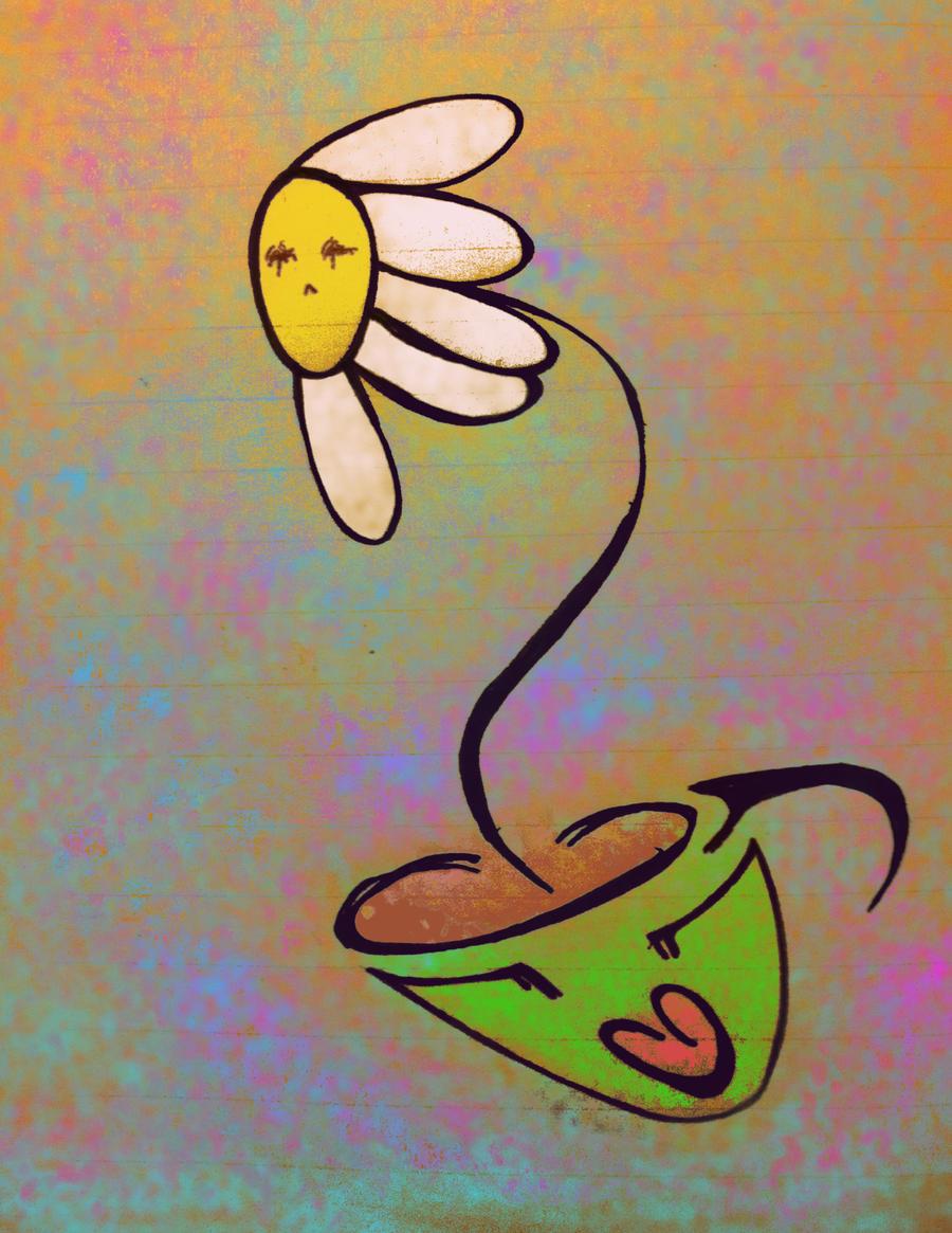 hope springs from teardrops in a coffee cup by SUSHIDIGITAL