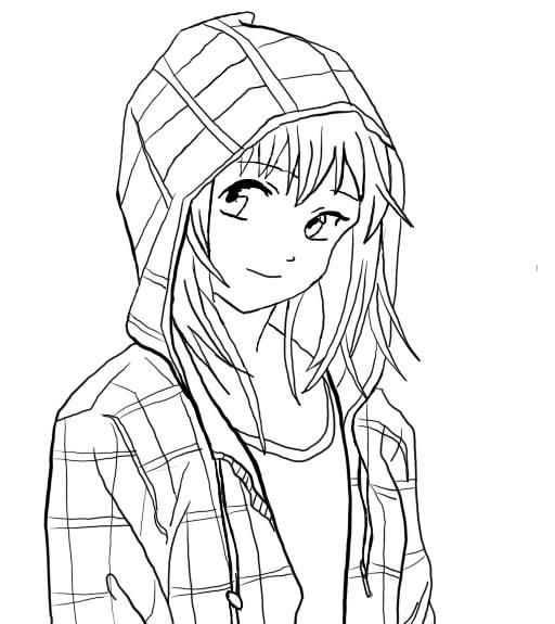 Manga girl free outline by blacklightning95