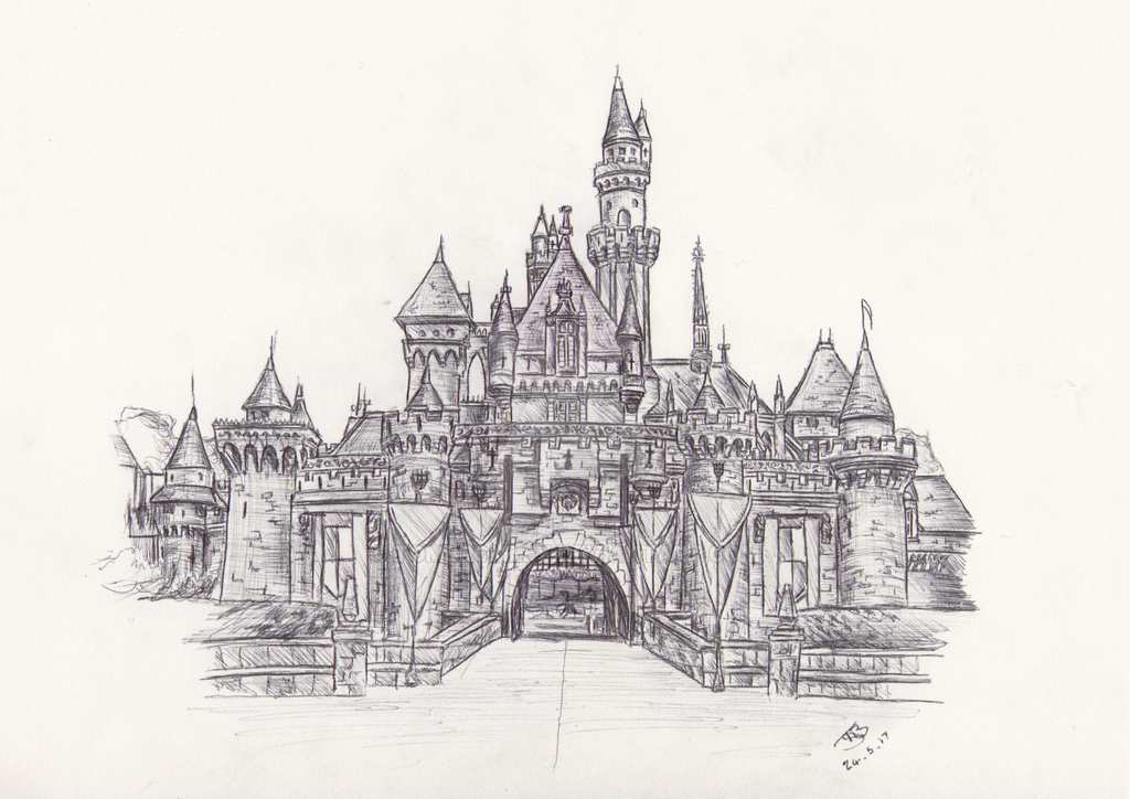 disneyland sleeping beauty castle drawing by tombromley
