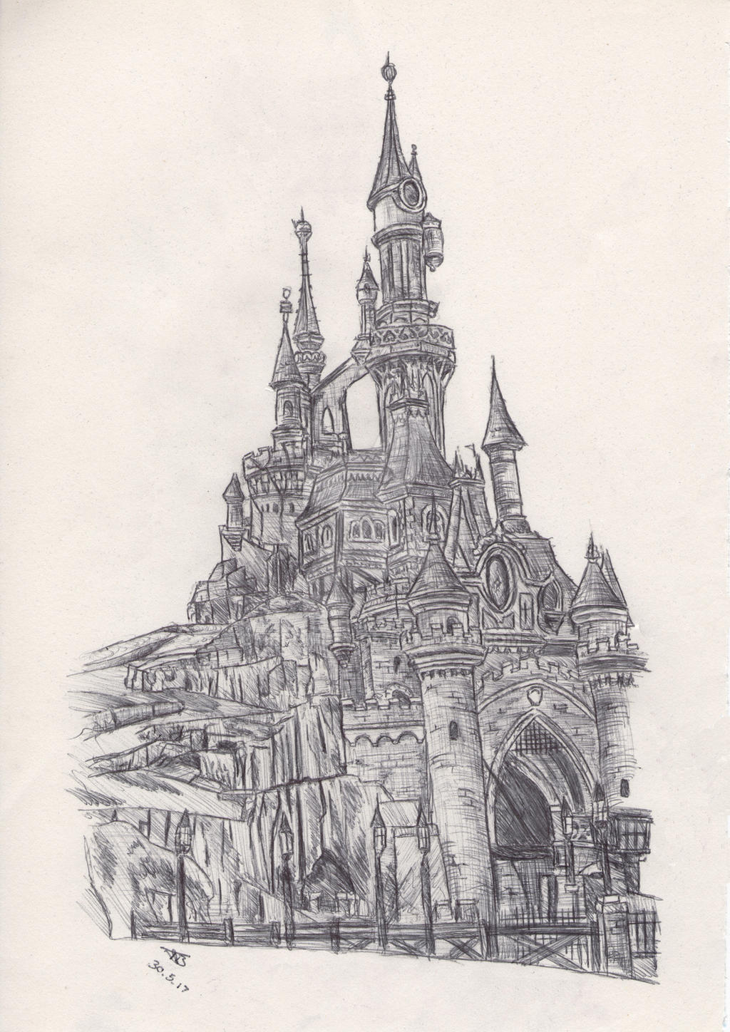 disneyland paris castle drawing by tombromley