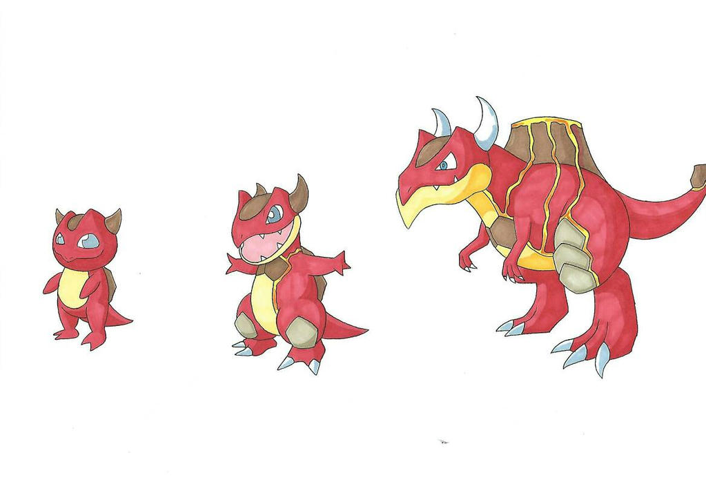 [Fakemon] #004 - #006 Fire Starters by FalconBaz on DeviantArt