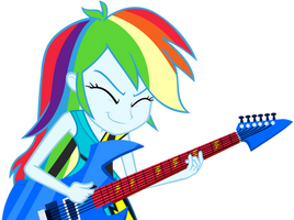 Rainbow Dash Playing Guitar Vector by GreenMachine987