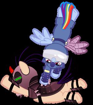 Rainbow Dash Kicking Flank Vector