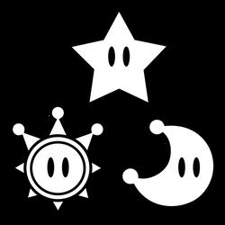 Power Star, Sun, and Moon Vector