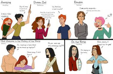 HP Relationships Doodles by julvett