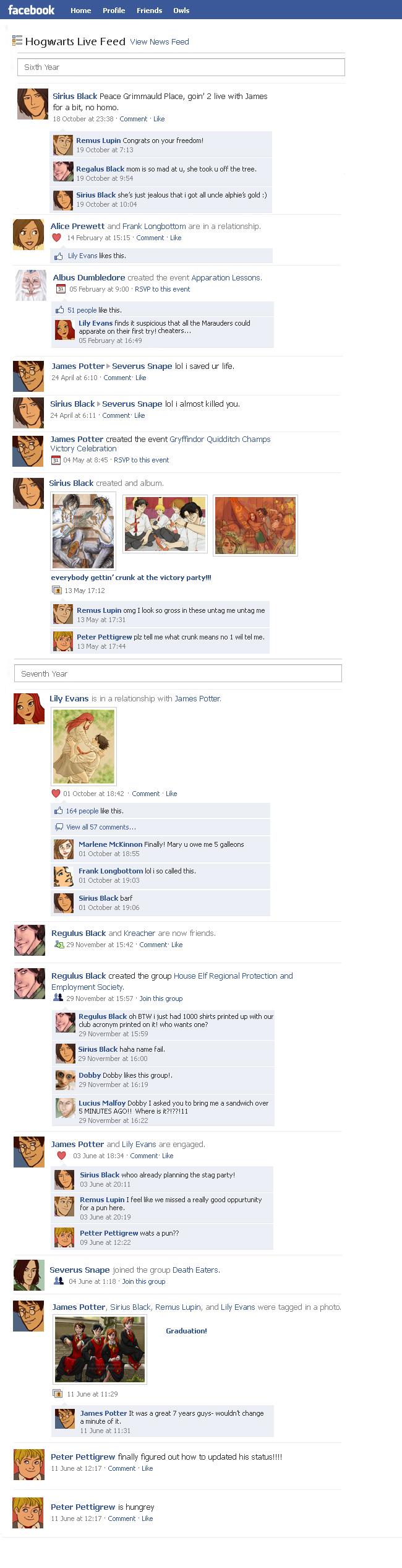 Marauders Facebook Timeline 3 by julvett