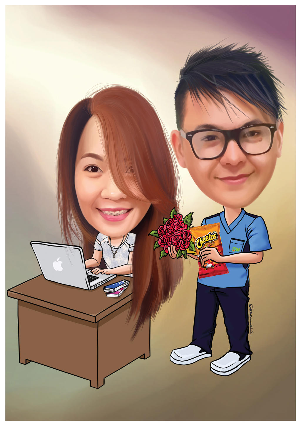 Jess and Paul Caricature by asoulofanartist