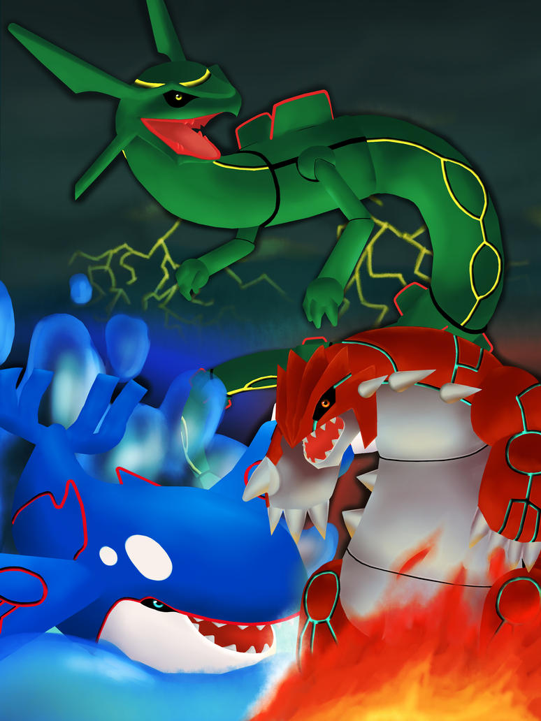 The Elemental Trio Groudon Kyogre Rayquaza By Eli Riv