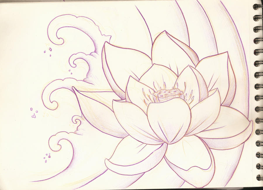 Lotus Flower Sketch 1 by PurpleRiot on DeviantArt