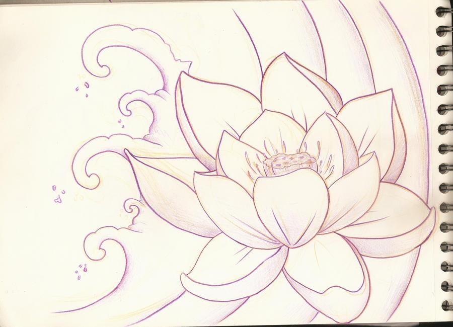 Lotus Flower Sketch 1 by PurpleRiot on DeviantArt