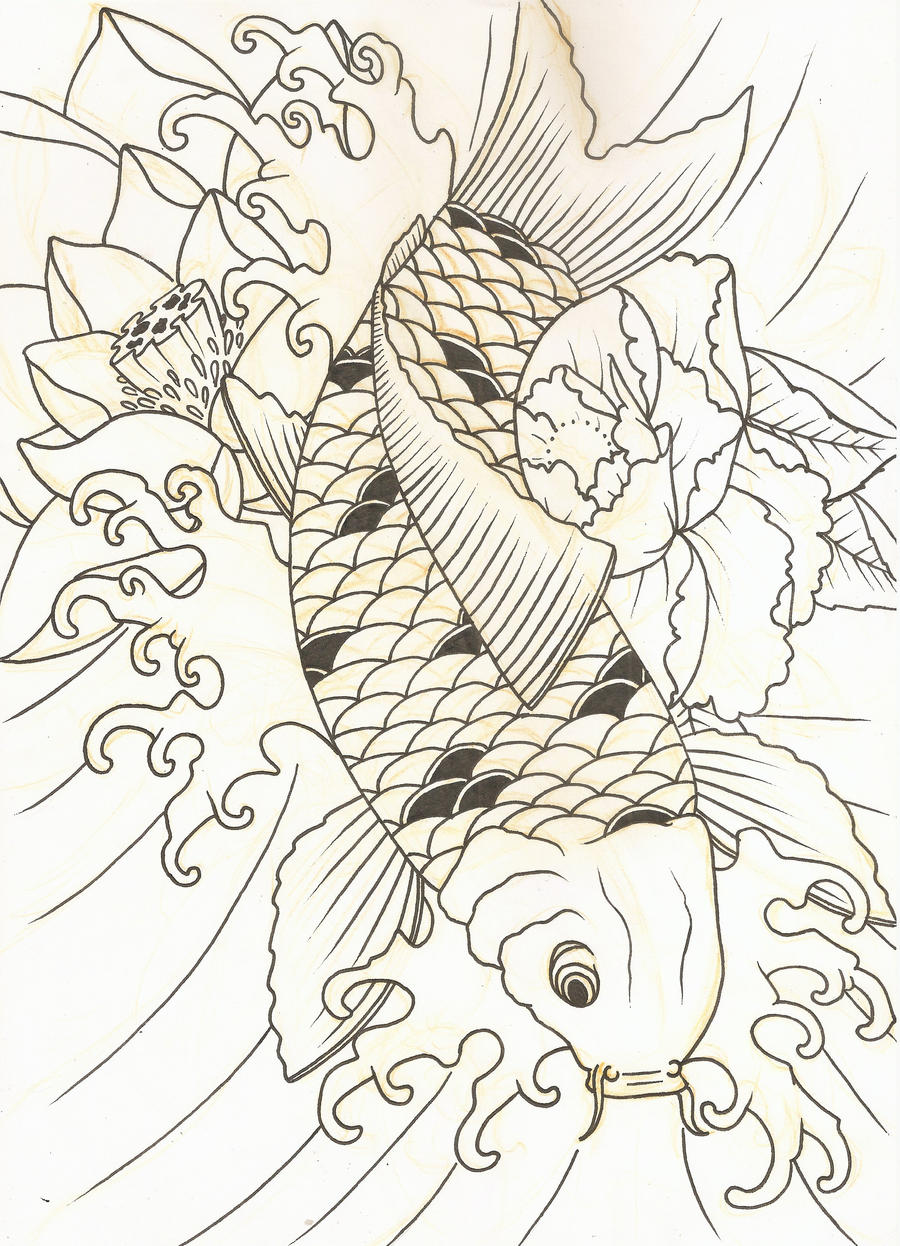 Koi sketch 2 by purpleriot on deviantart for Koi fish sketch